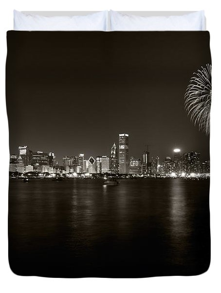 Chicago Skyline Fireworks BW Duvet Cover by Steve Gadomski