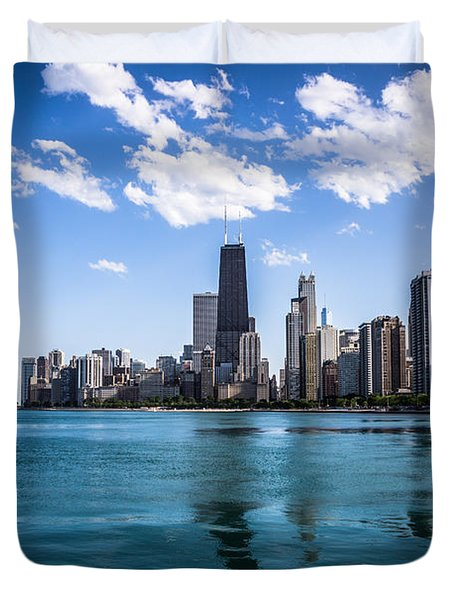 Chicago Skyline Photo With Hancock Building Duvet Cover by Paul Velgos