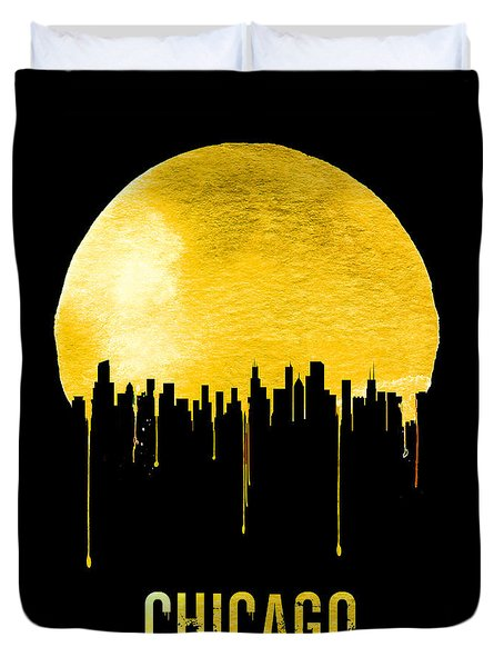 Chicago Skyline Yellow Duvet Cover by Naxart Studio