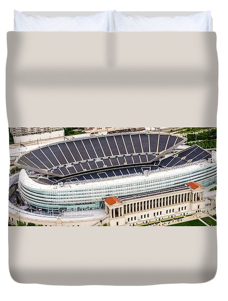 Chicago Soldier Field Aerial Photo Duvet Cover by Paul Velgos