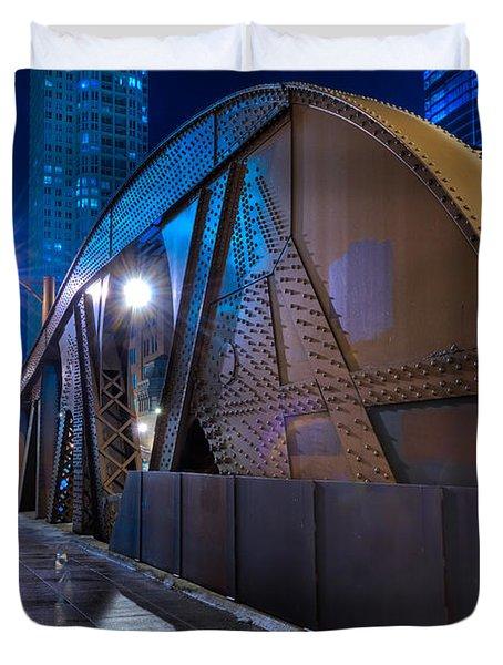 Chicago Steel Bridge Duvet Cover by Steve Gadomski