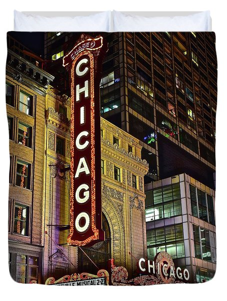 Chicago Theater Aglow Duvet Cover by Frozen in Time Fine Art Photography