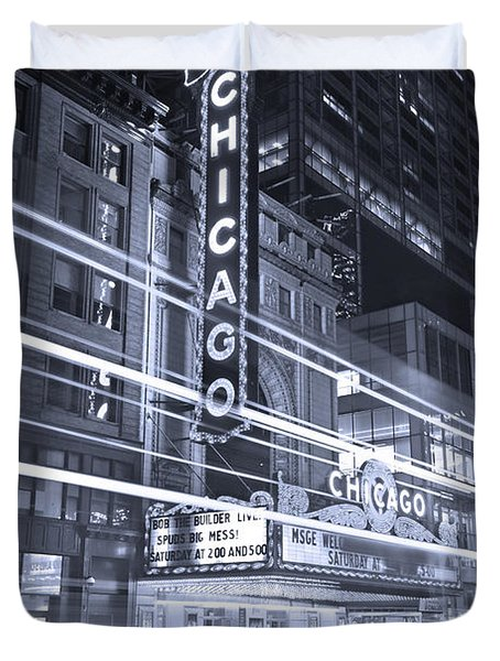 Chicago Theater Marquee B And W Duvet Cover by Steve Gadomski
