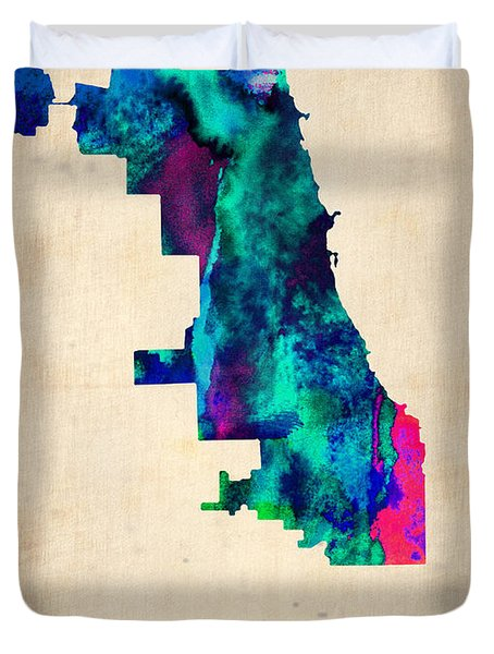 Chicago Watercolor Map Duvet Cover by Naxart Studio