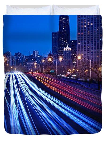 Chicagos Lake Shore Drive Duvet Cover by Steve Gadomski