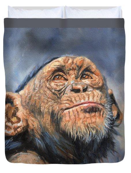 Chimp Duvet Cover by David Stribbling