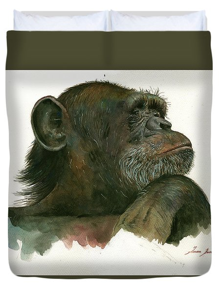 Chimp Portrait Duvet Cover by Juan Bosco