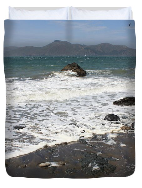 China Beach with Outgoing Wave Duvet Cover by Carol Groenen