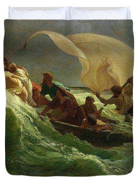 Christ Asleep In His Boat  Duvet Cover by Jules Joseph Meynier