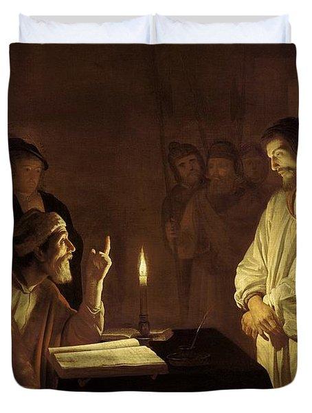 Christ Before The High Priest Duvet Cover by Gerrit van Honthorst