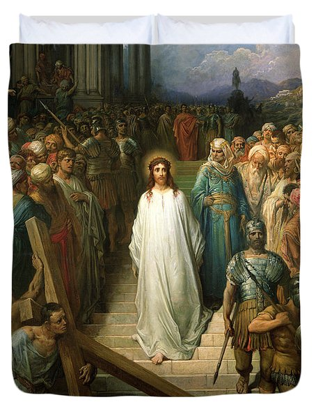 Christ Leaves His Trial Duvet Cover by Gustave Dore