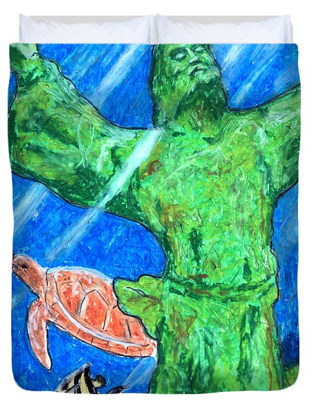 Christ of the Deep Duvet Cover by William Depaula