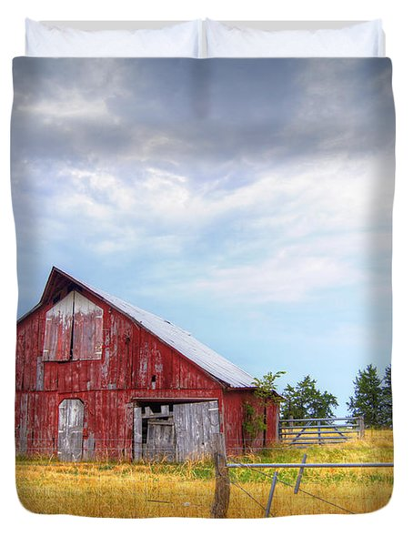 Christian School Road Barn Duvet Cover by Cricket Hackmann