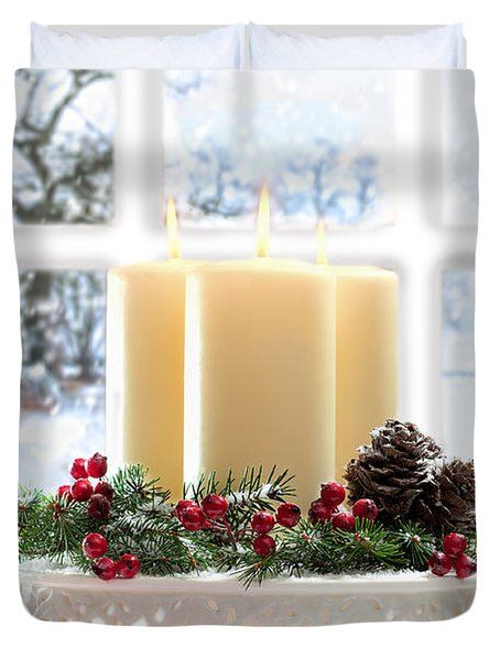 Christmas Candles Display Duvet Cover by Amanda Elwell