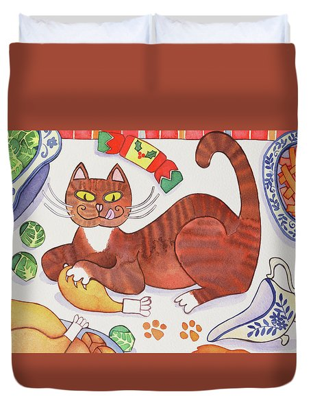 Christmas Cat And The Turkey Duvet Cover by Cathy Baxter