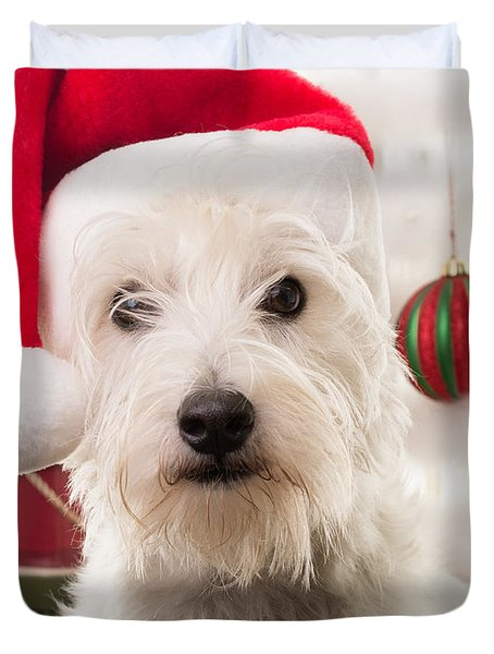 Christmas Elf Dog Duvet Cover by Edward Fielding
