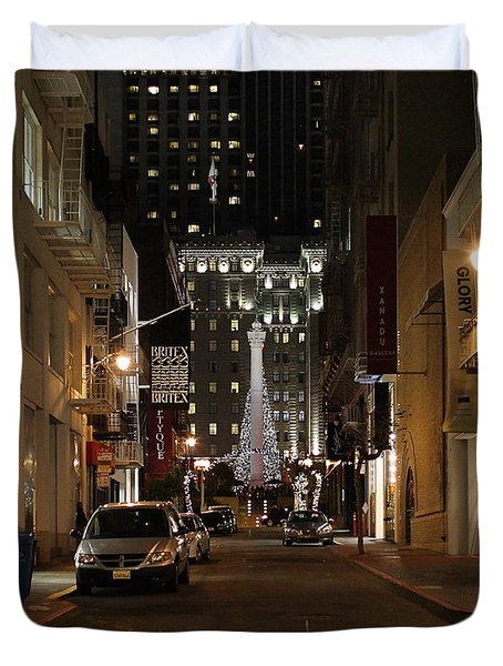 Christmas Eve 2009 on Maiden Lane Duvet Cover by Wingsdomain Art and Photography