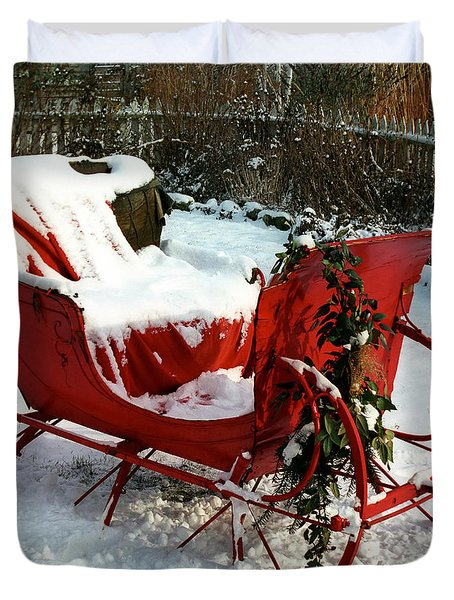 Christmas Sleigh Duvet Cover by Andrew Fare