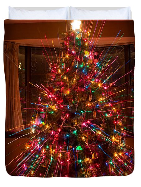 Christmas Tree Light Spikes Colorful Abstract Duvet Cover by James BO  Insogna