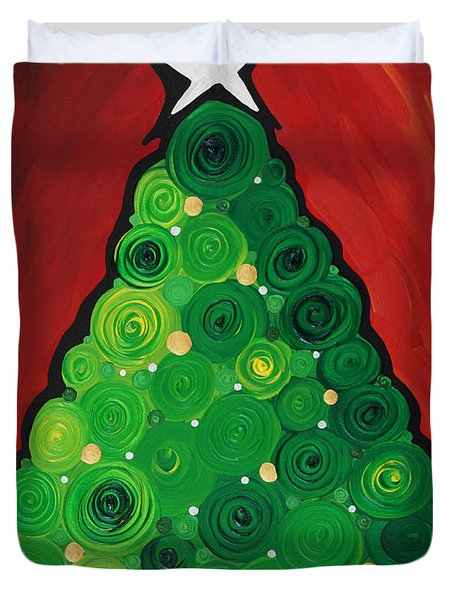 Christmas Tree Twinkle Duvet Cover by Sharon Cummings