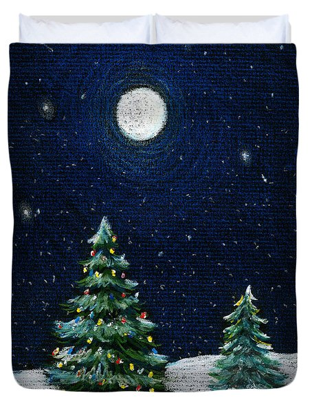 Christmas Trees In The Moonlight Duvet Cover by Nancy Mueller
