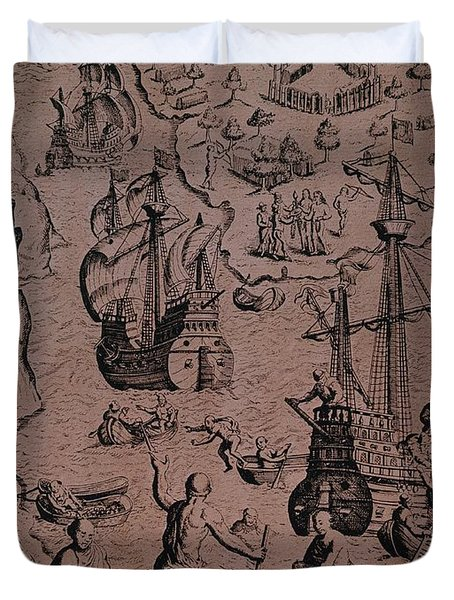 Christopher Colombus Discovering The Islands Of Margarita And Cubagua Where They Found Many Pearls Duvet Cover by Spanish School