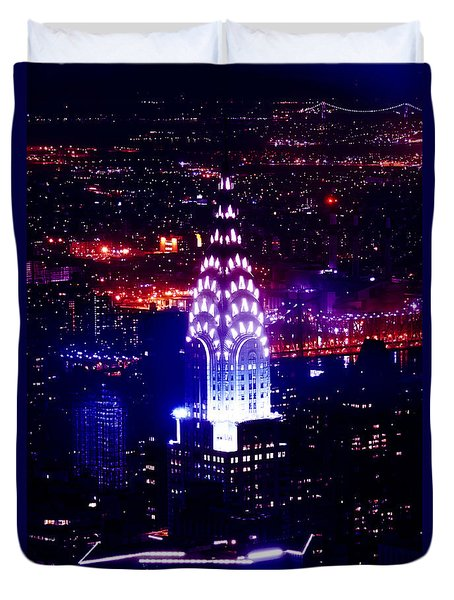 Chrysler Building At Night Duvet Cover by Az Jackson