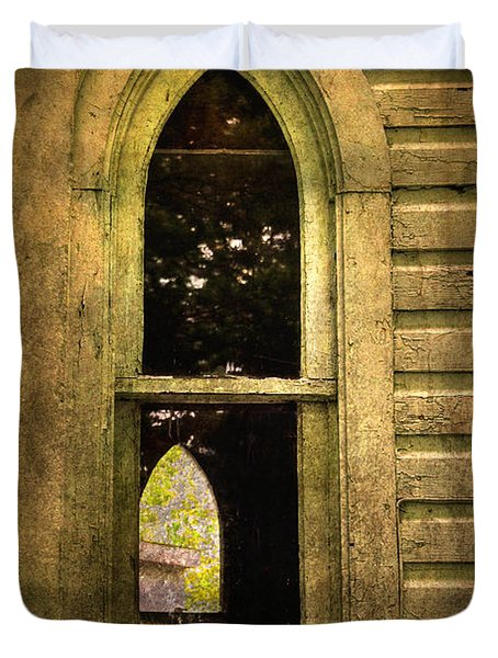 Church Window Church Bell Duvet Cover by Lois Bryan