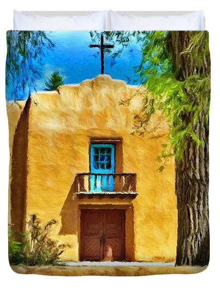 Church with Blue Door Duvet Cover by Jeff Kolker