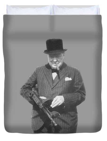 Churchill Posing With A Tommy Gun Duvet Cover by War Is Hell Store