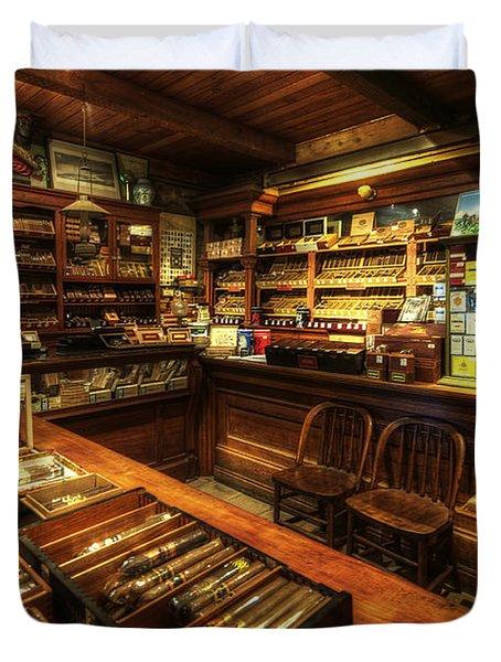Cigar Shop Duvet Cover by Yhun Suarez