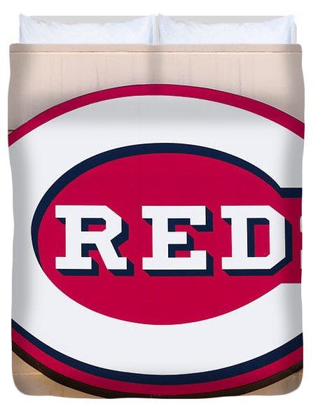 Cincinnati Reds Logo Sign Duvet Cover by Paul Velgos
