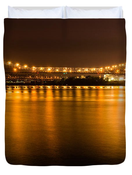 Cincinnati Roebling Bridge At Night Duvet Cover by Paul Velgos