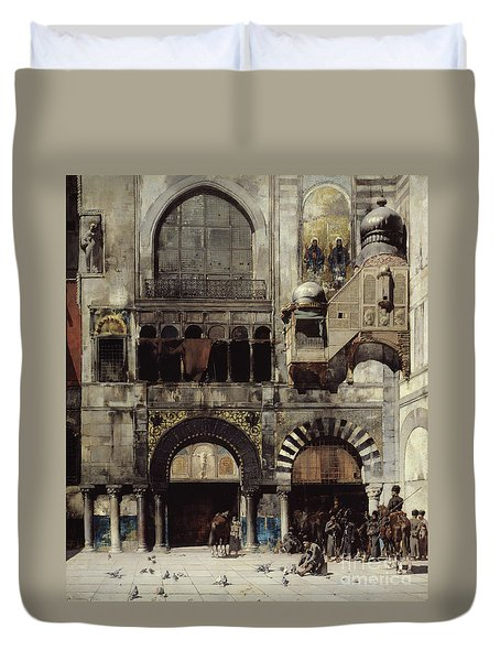 Circassian Cavalry Awaiting Their Commanding Officer At The Door Of A Byzantine Monument Duvet Cover by Alberto Pasini