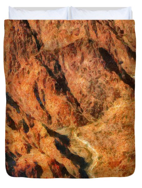 City - Arizona - Grand Canyon - A Look Into The Abyss Duvet Cover by Mike Savad