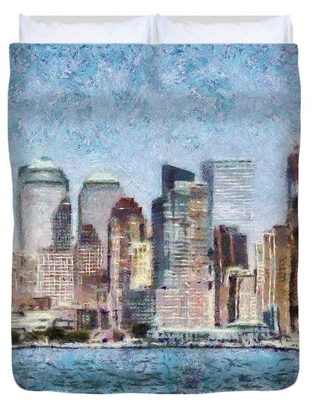 City - Ny - Manhattan Duvet Cover by Mike Savad