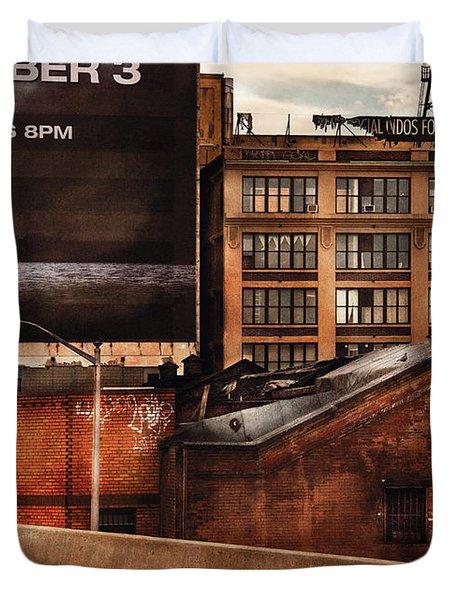 City - NY - New York History Duvet Cover by Mike Savad