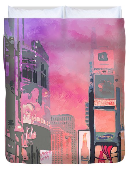 City-art Ny Times Square Duvet Cover by Melanie Viola