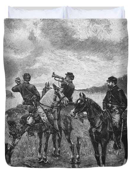 Civil War Soldiers On Horseback Duvet Cover by War Is Hell Store
