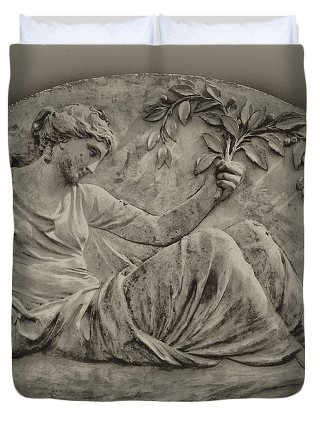 Classical Greek Woman Fresco Duvet Cover by Bill Cannon
