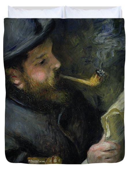 Claude Monet Reading A Newspaper Duvet Cover by Pierre Auguste Renoir