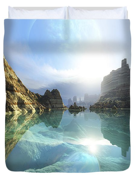 Clear Canyon River Waters Reflect Duvet Cover by Corey Ford