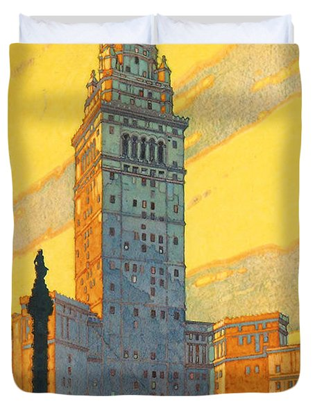 Cleveland - Vintage Travel Duvet Cover by Georgia Fowler