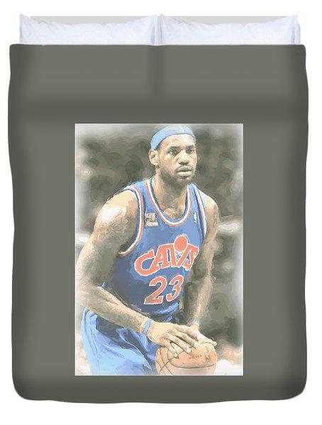 Cleveland Cavaliers Lebron James 1 Duvet Cover by Joe Hamilton