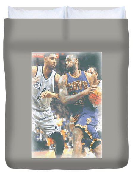 Cleveland Cavaliers Lebron James 4 Duvet Cover by Joe Hamilton