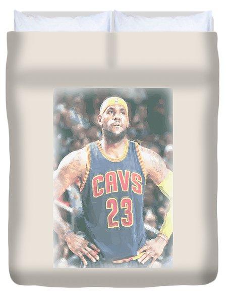 Cleveland Cavaliers Lebron James 5 Duvet Cover by Joe Hamilton