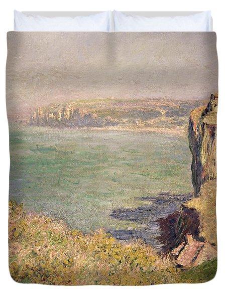 Cliff At Varengeville Duvet Cover by Claude Monet