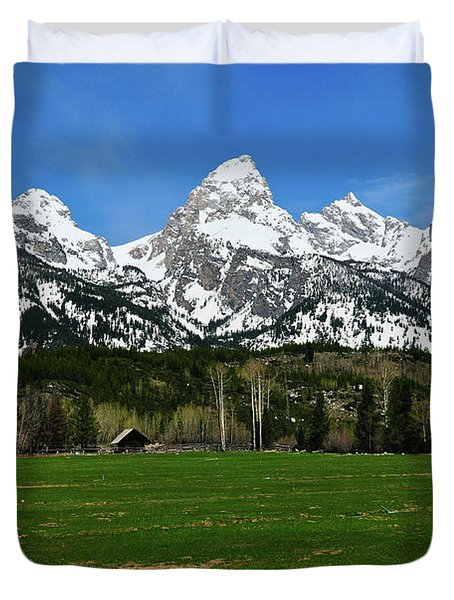 Climbers Ranch In Spring Duvet Cover by Greg Norrell