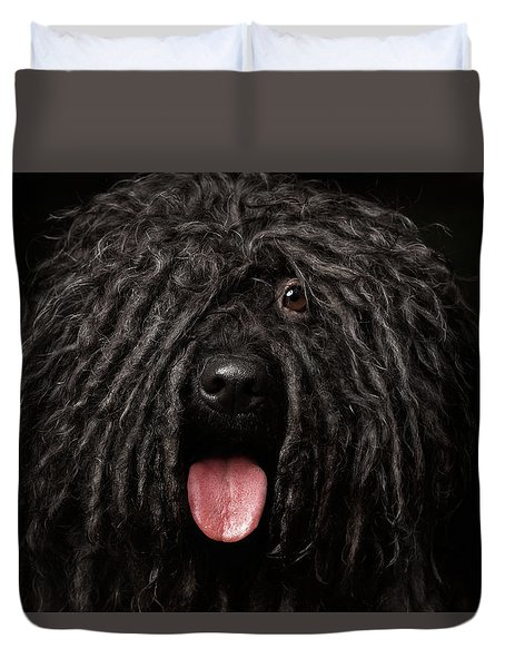 Close Up Portrait Of Puli Dog Isolated On Black Duvet Cover by Sergey Taran