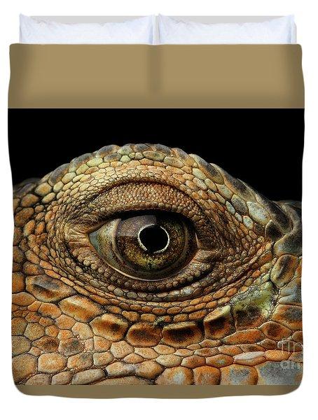 Closeup Eye Of Green Iguana, Looks Like A Dragon Duvet Cover by Sergey Taran